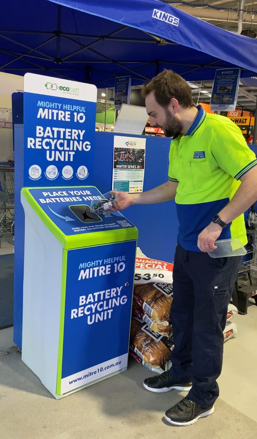 Battery Recycling Unit at Clennetts Mitre 10 Kingston