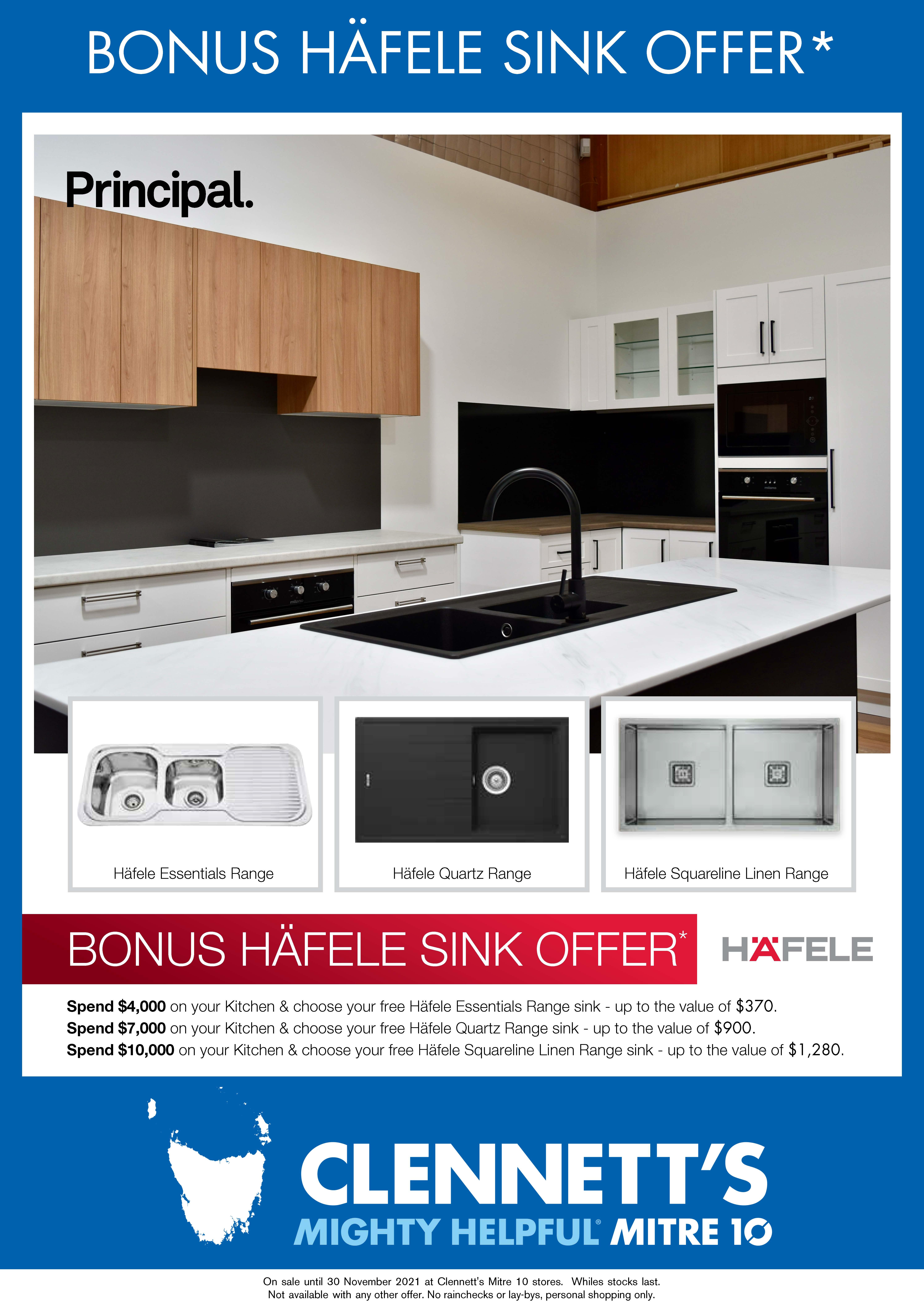 Clennett's Mitre 10 Hafele Sink promo flyer
